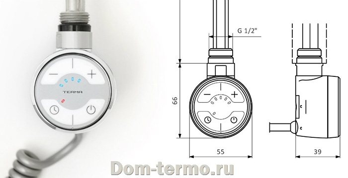 электро ТЭН TERMA, модель MOA 300w с кабелем, цвет белый, хром, черный, серебро, фото, схема