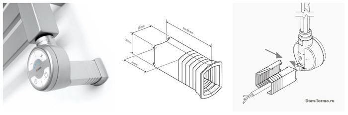 маскировочный элемент для скрытого подключения электро ТЭНа для электрического полотенцесушителя