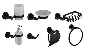 Черные аксессуары для ванной комнаты